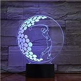 3D Symphony Lámpara de mesa LED Deportes Golf Touch Cambio de color Luz nocturna Decoración de la habitación de estudio para niños Luz nocturna