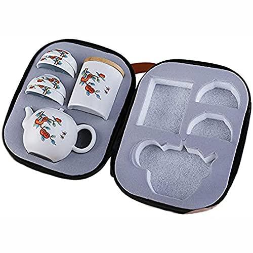 Bellamente chino Kungfu hecho a mano de cerámica blanca tetera viaje conjunto, embalaje portátil con cesta de té y bolsa de té portátil