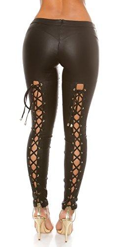 Koucla Extravagante Lederlook Hose mit Schnürung - Wetlook Pants Skinny Lederhose - Schwarz Cappuccino Gr. XS - L (XS, Schwarz)
