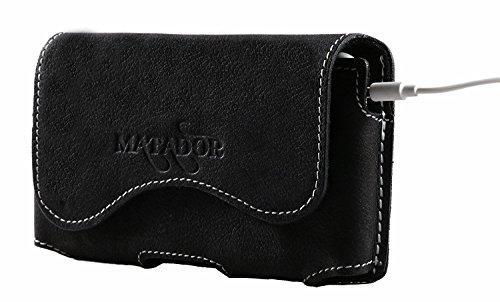 MATADOR Lederhülle Ledertasche Ledercase Handytasche Gürteltasche kompatibel mit iPhone 5 5S 5C SE Schwarz