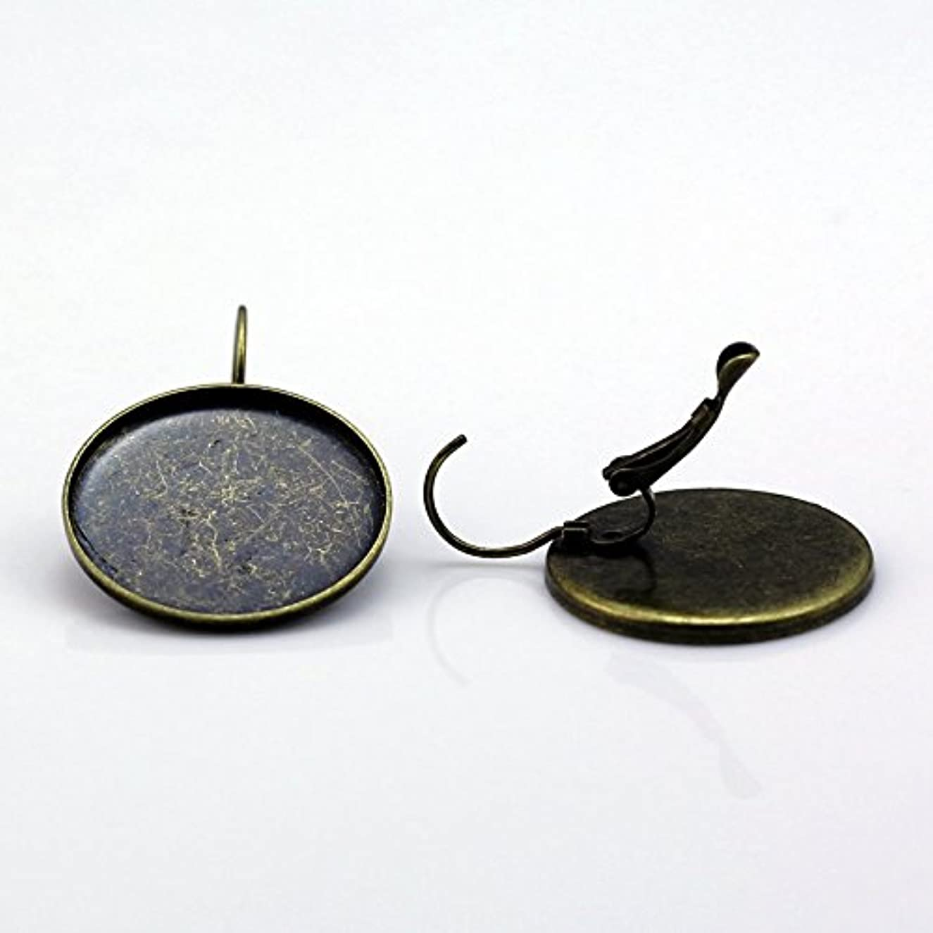 Brass Earring Hook Base Fit 25mm Round for Making Jewelry (20Piece)