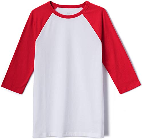 TSLA Kid's 3/4 Sleeve Baseball Jersey Shirts, Casual Dynamic Cotton T-Shirts, Quarter Sleeve Raglan Tops, Dyna Cotton 3/4 Sleeve(kts03) - White & Red, 14-16_Large