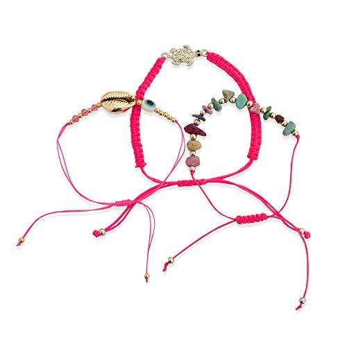 Generico • Kiss Me! • Topmodel Ibiza Hippie mercato indiano set di 3 braccialetti con perline colorate a forma di tartaruga, conchiglia