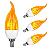 Bombillas de llama Vela, 3 Modo de luz Regulable Edison Filamento LED, 3 W E14 Vidrio Matte Bombillas para Hogar, Jardín, Restaurantes, Fiesta(4 piezas)