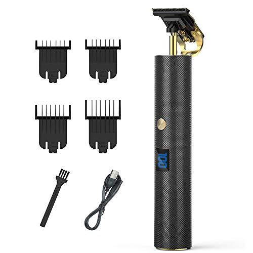 Hair Clippers Haarschneidemaschinen für Männer - USB-wiederaufladbarer kabelloser elektrischer T-Blade-Haarschneider-Outliner für Männer Detailfriseur mit Nullspalt und LCD-Display + 4 Führungskämme