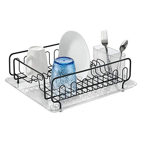 mDesign Escurridor de platos en acero inoxidable - Escurreplatos plástico con cubertero...
