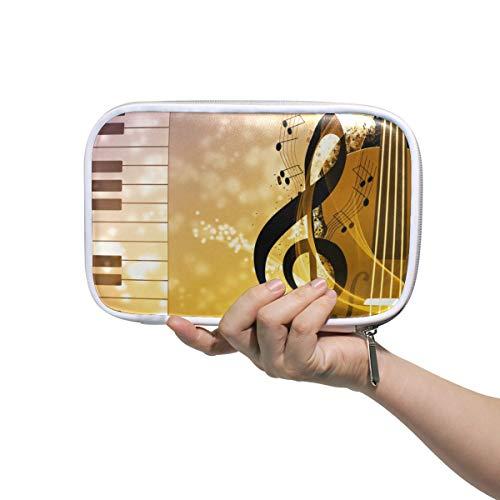 Potlood Case Leer Cosmetische Tas Art Piano Gitaar Muziek Note Organizer Grote Capaciteit voor Travel School