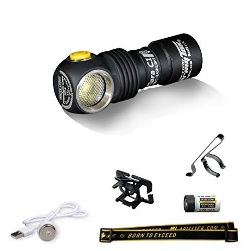 Stirnlampe Armytek Tiara C1 XP-L Warm 980 LED-Lumen mit Magnet-USB-Ladegerät und 18350 Li-Ion Akku