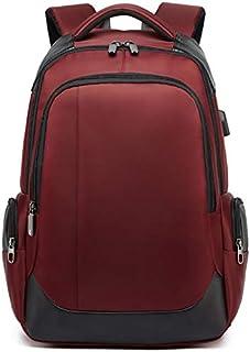 Mochila antirrobo Impermeable Hombre, Mochila Informal para Hombre con Carga USB de Oxford, Mochila para Adolescentes de Viaje - Rojo
