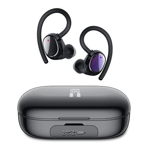 iporachx Auriculares Inalambricos Bluetooth 5.0, Auriculares Bluetooth Deportivos IP7, Verdadero Sonido Estéreo Auriculares Running LED Estuche de Carga 2600mah, 100 Horas de Duración, Control Táctil