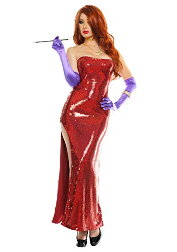 Deluxe Sequin Hollywood Singer Costume Red Sequin Dress for Women Large