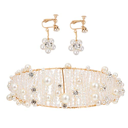 Lurrose Coronas de Novia de Oro con Pendientes de Perlas Clips de...