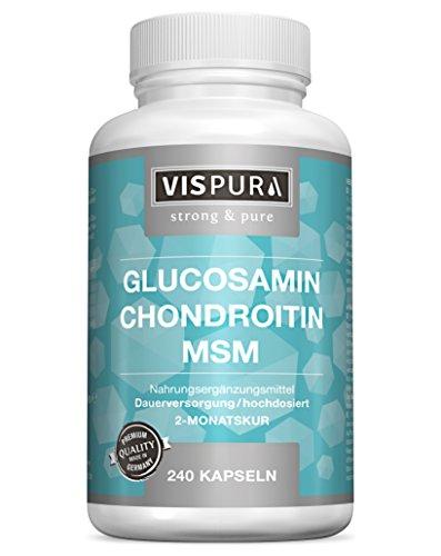 VISPURA® VITAL-Komplex mit Glucosamin, Chondroitin, MSM, hochdosiert, 240 Kapseln für 2 Monate mit Vitamin C, Natürliche Nahrungsergänzung ohne unnötige Zusätze