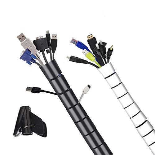 Cozywind Spiral Kabelschlauch 1.5 m×2 Flexible Kabelschutz Rohr Kabelkanal Kabelhülle mit Kabelführungsclip für meisten Kabel Schwatz und Weiß
