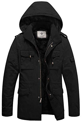 WenVen Men's Winter Military Casual Jacket with Removable Hood Black 3Xl