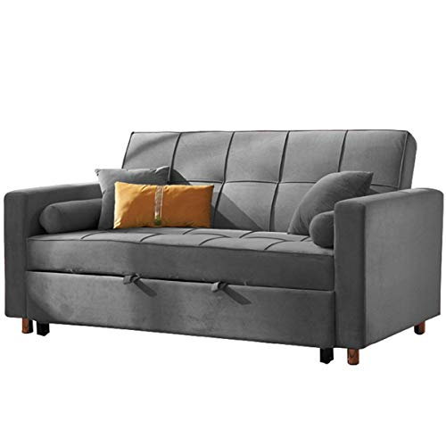 SND-A Nordic Fabric Folding Sofa Bed,Apartment Living Room Furniture Sofa Convertible Bed,Pull Out Loveseat Futon Couch,Multifunctional Sitting And Sleeper Sofa Bed,Washable,Gray,2.1M