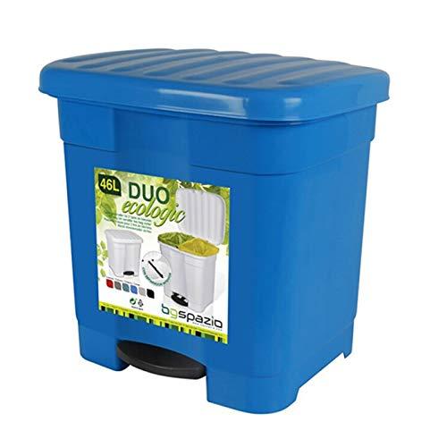 Cubo de Basura Pedal 2 compartimiento 46 litro Plástico 45 x 41 x 47 cm ,Contenedor de basura 2 Divisiones Interiores multicolores(Azul)