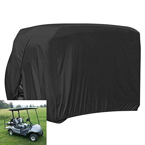ez go golf cart covers FLYMEI Waterproof Dust Prevention 2 Passenger Golf Cart Cover Fits EZ GO Club Car Yamaha Golf Carts(Black)