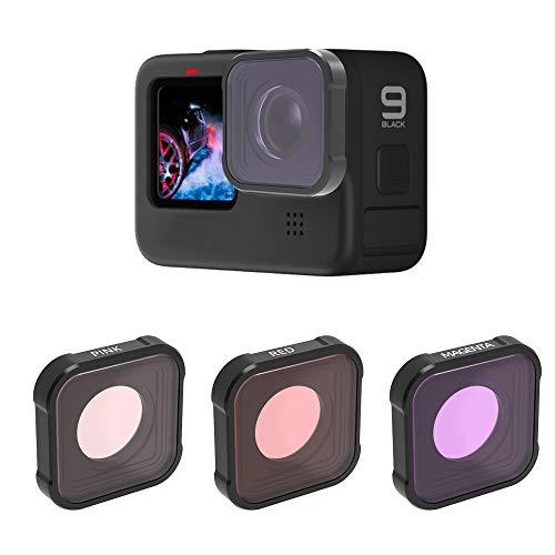 QKOO Unterwasserfilter für GoPro Hero 9 Schwarz (ersetzt direkt die Standard-Schutzlinse Ihrer Kamera)