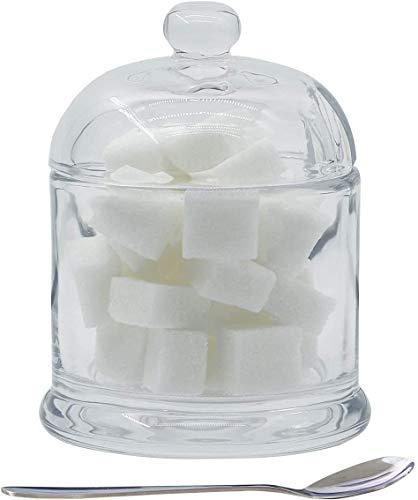 Chase Chic - Zuccheriera in vetro trasparente con coperchio e cucchiaio, 280 ml, contenitore per condimenti con coperchio per bar, ristorante, cucina e colazione a casa