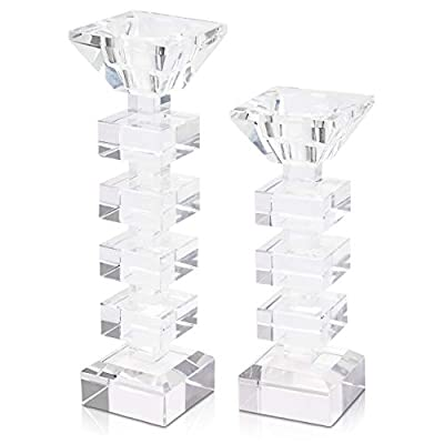 Elle's Corner 2-in-1 Glass Taper Candle Holders and Tealight Candle Holders   Premium Set of 2 Modern Glass Candle Holders   Perfect for Dinner Décor, Wedding Décor, and Elegant Home Decoration