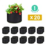 WOHOUS 20-Pack 1 Gallon Plant Grow Bags Heavy Duty Aeration Fabric Pots Thickened Nonwoven 1 Gallon Fabric Pots Plant Grow Bags (20, 1 Gallon)