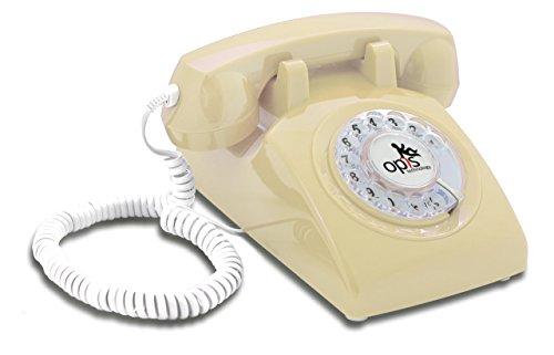 OPIS 60s Cable con Logo de Opis Technology: Teléfono Estilo Retro/teléfono Vintage de los años Sesenta con Disco de marcar (Crema)