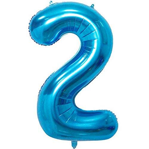DIWULI, XXL-nummerballonnen, nummer 2, Ijsblauwe ballonnen, nummerballonnen, folieballonnen aantal jaren, folieballonnen blauw voor 2e verjaardag, bruiloft, feest, decoratie, geschenkdecoratie