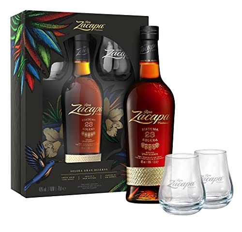 Ron Zacapa Solera 23 Rum Geschenkset mit 2 Gläsern (1 x 0,7l)