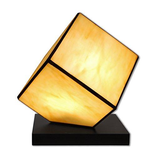 World Art TW60556 Lampes Style Tiffany Chevet Cube, Multicolore, 24x22x22 Cm
