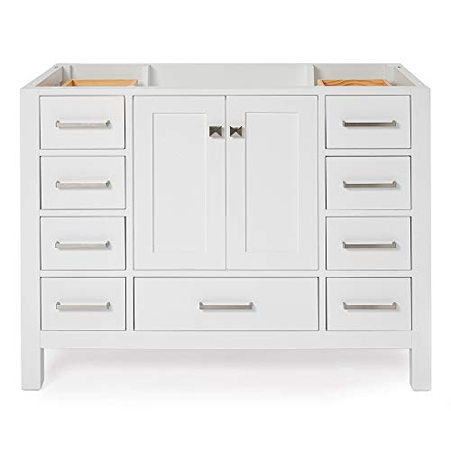 ARIEL 42' inch White Bathroom Vanity Base Cabinet with Single Sink Configuration | 2 Soft Closing Doors and 9 Full Extension Dovetail Drawers | Satin Nickel Hardware | 42' x 21.5' x 34.5'