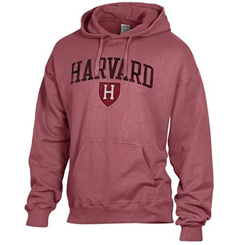 NCAA Adult Ultra Soft Comfort Wash Hooded Sweatshirt (Harvard Crimson - Maroon, Small)