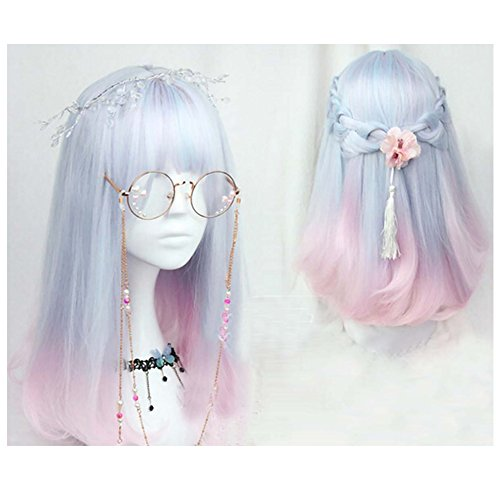 18 inch soft sister Light blue pink color gradient COSPLAY wig Gals Japan Harajuku style+cap No headwear