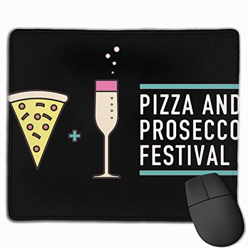 Whecom Gaming Mauspad Schwarz, Non-Slip Mouse Pad Rectangle Rubber Mousepad Pizza and Prosecco Festival Print Gaming Mouse Pad
