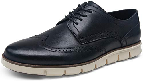 VOSTEY Men's Dress Shoes Leather Casual Oxfords Plain Toe Casual Derby Shoes (7,Leather prince727-black)