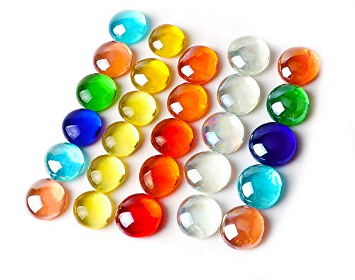 Coolty 1KG Glaskiesel Mehrfarbig, Bunte Glasnuggets, Glasdekorsteine, Ca. 230 Stück