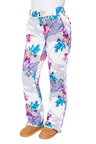 Stayer skibroek dames ornamenten bont thermische broek winter-sportbroek ornament bloemen lila blauw patroon