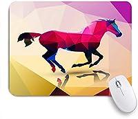 ECOMAOMI 可愛いマウスパッド 幾何学的な多角形の動物の馬eライオンキリンバタフライエレファントヒョウオオカミイーグルディアバッファローサメ 滑り止めゴムバッキングマウスパッド