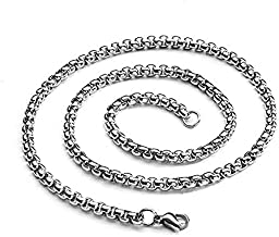 Coollooda men's and women's stainless steel necklace silver jewelry chain Word O necklace Square Pattern