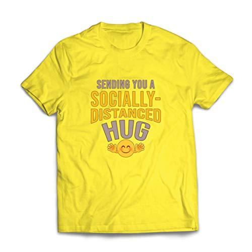 lepni.me Männer T-Shirt Soziale Distanzierung Umarmung Bleib zu Hause Quarantäne Emotion (Small Gelb Mehrfarben)