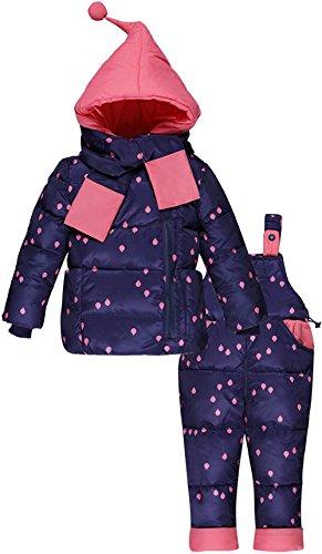 Zoerea Unisex Bambino Tute Completo da Neve Bambini Snowsuit Caldo Invernale con Cappuccio Tuta da Sci Imbottito Giacca e Pantaloni e Sciarpa 3 Pezzi