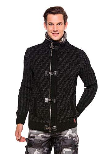 Cipo & Baxx Herren Strickjacke Cardigan Pullover Stehkragen Jacke mit Fell Grau XL