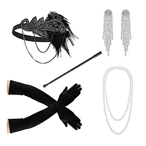 Yuccer 20er Jahre Accessoires Damen Stirnband 20er Jahre Perlenkette Lange Schwarze Handschuhe Zigarettenhalter Ohrringe Charleston Accessoires für Damen (Schwarz)