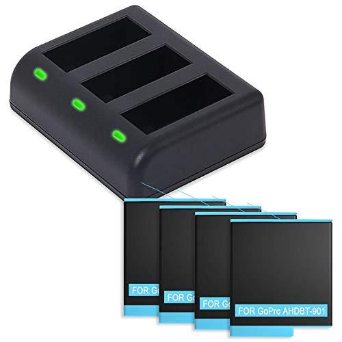 4 baterías + cargador triple (USB) compatible con GoPro Hero9 Black – sustituye a ADBAT-001 [1750 mAh – 3,85 V – ion de litio – 100% compatible – Incluye cable micro USB