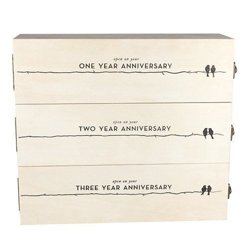 Twine Wedding and Anniversary Gift Wooden Wine Box Three Year Celebration 3 Bottle Holder with Lids and Latches, 27.5x3.0