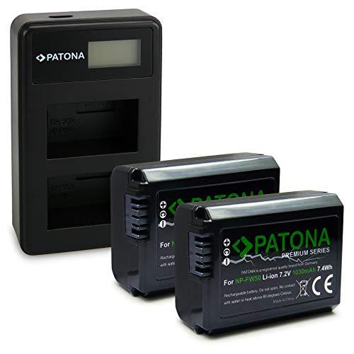 PATONA Cargador Doble LCD USB con 2X NP-FW50 Premium Batería Compatible con Sony NEX-3, NEX-5, NEX-6, NEX-7, DSC-RX10, Alpha 7, A35, A55