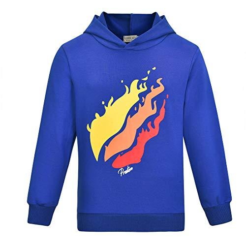 Thombase Prestonplayz YouTube Youtuber Jungen Mädchen Hoodie Sweatshirts Mit Kapuze Tops (Blau, 130 (5-6 Jahre))
