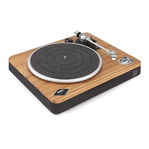 House of Marley Stir It Up Wireless Turntable Plattenspieler, Nachhaltig gefertigter Bambus Record player, Bluetooth, recycelter Rewind Stoff, USB zu PC/MAC Aufnahme, Staubschutz, bambus/schwarz