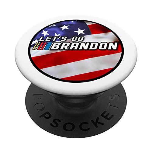 Lets Go Brandon Anti-Biden Lemas en la bandera americana PopSockets PopGrip Intercambiable