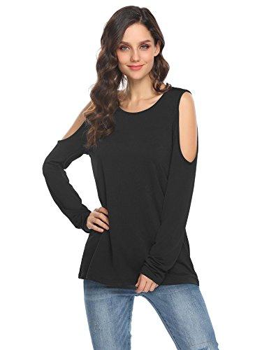 Meaneor Damen Bluse Langarm Shirt Oberteile Longsleeve Shoulder Cut Out Spitzen Am Rücken